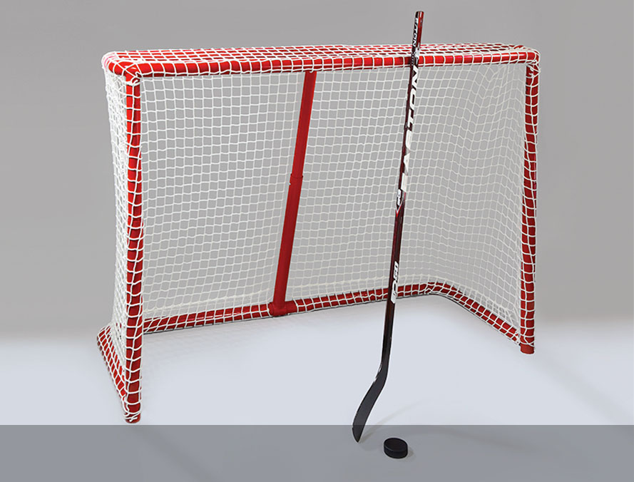 photography of hockey net for a sporting goods company