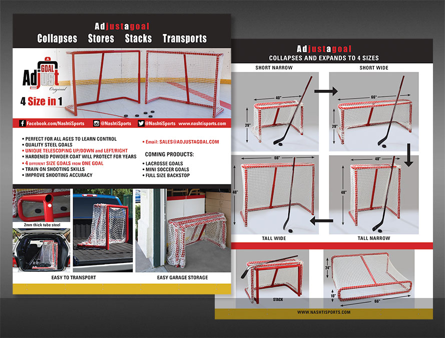 print brochure design for hockey sporting goods products