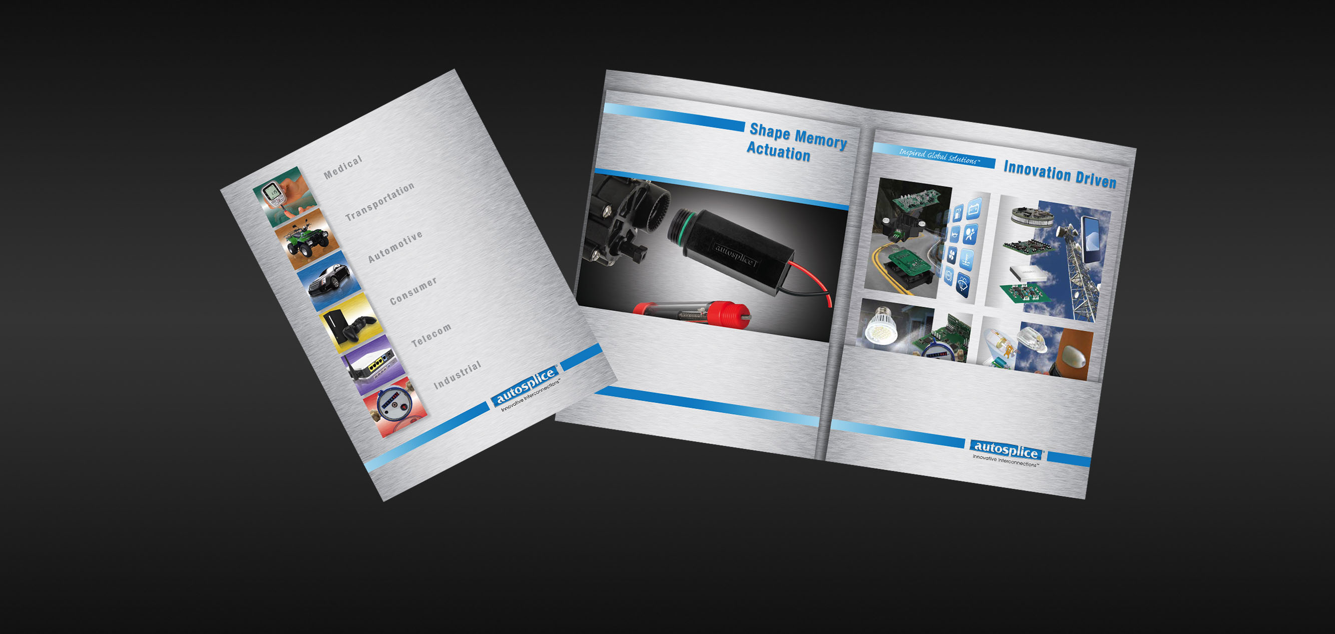 product brochure design and photography for an electronic component company