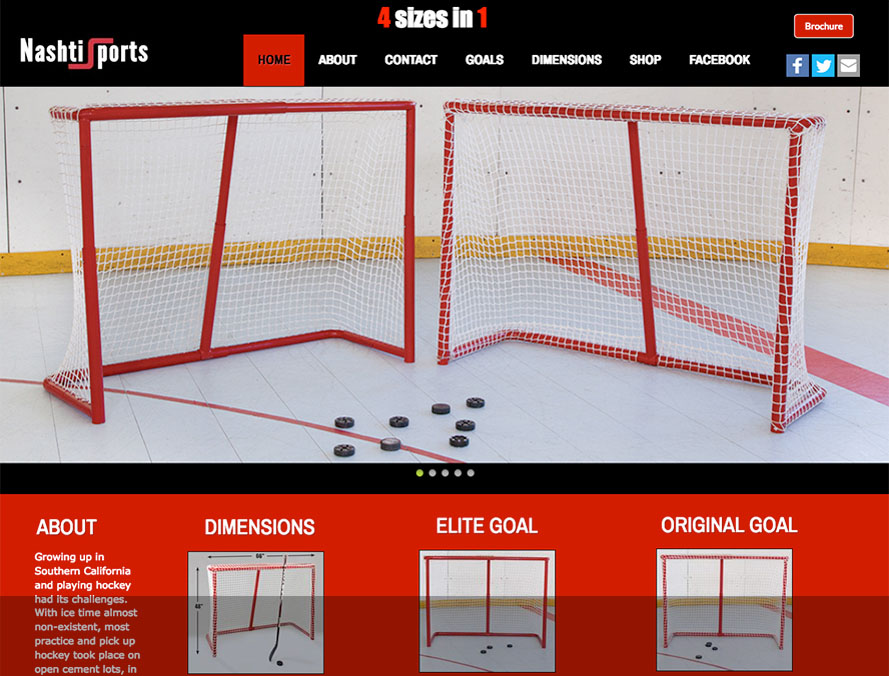 web site design and content for sporting goods products