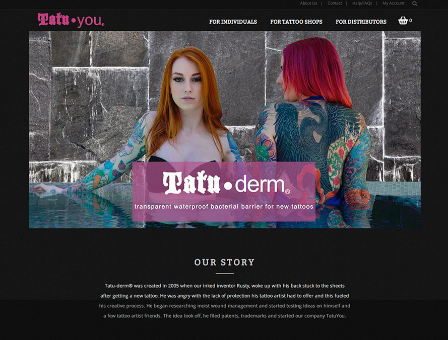 web site design and content for skin care tattoo products